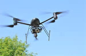 Action shot of a drone flying in the air