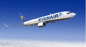 Ryanair 737 aeroplane flying in the blue sky