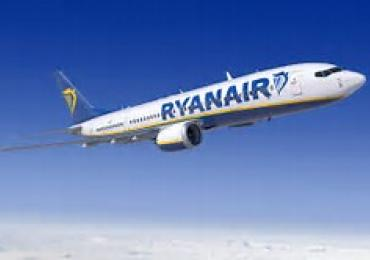 Ryanair 737 aeroplane flying in the blue sky